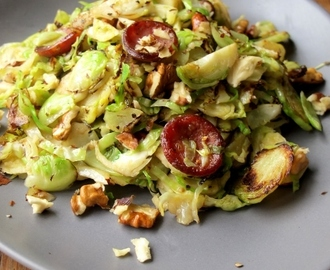 Shredded Brussels Sprouts with Chorizo & Walnuts