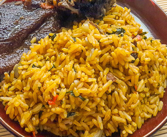 Rich Nigerian palm oil jollof rice