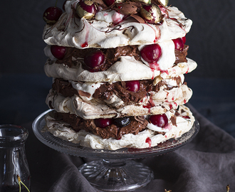 Chocolate Mousse Pavlova With Syrupy Cherries