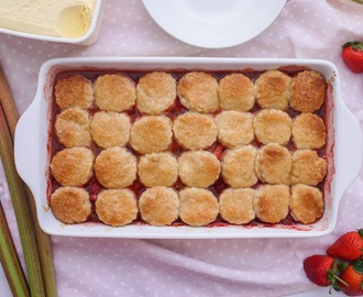 Strawberry Rhubarb Cobbler with Honey Butter Scones.