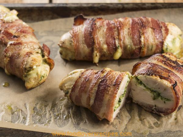 BACON-WRAPPED CHEESY CHICKEN ROLLS