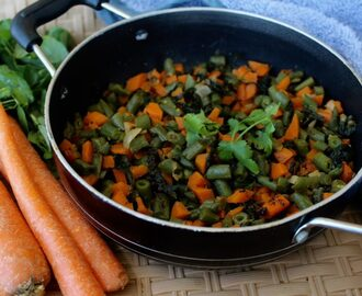 Carrot,Beans and Fenugreek Leaves Stir Fry(Gajar,Beans and Methi Subzi) – A 1tsp Oil recipe