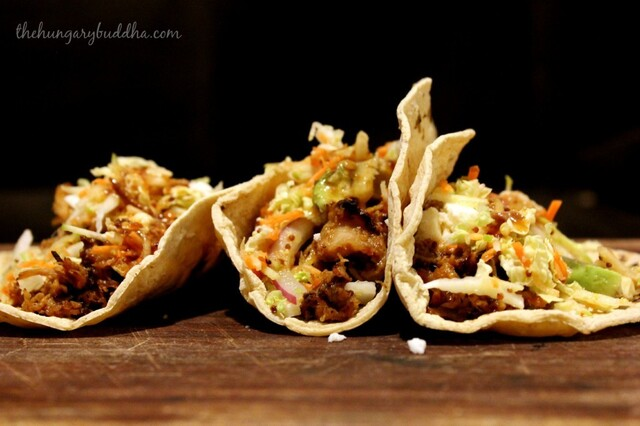 Pulled Pork Tacos with Hard Cider Barbecue Sauce and Apple Slaw
