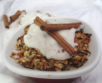 Apple Carrot Cake Oatmeal with Coconut Brulee, Cream Cheese Frosting, and Candied Carrots