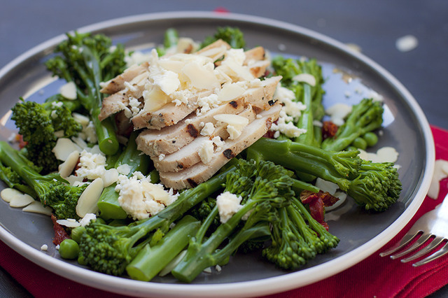 Warm Chicken, Broccoli, Pea and Sundried Tomato Salad with Feta and Almonds