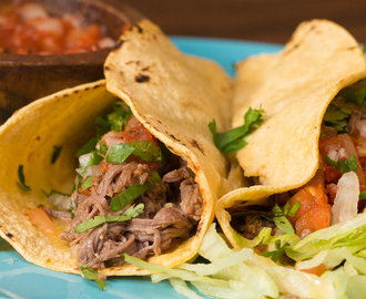 Slow Cooker Shredded Steak Tacos