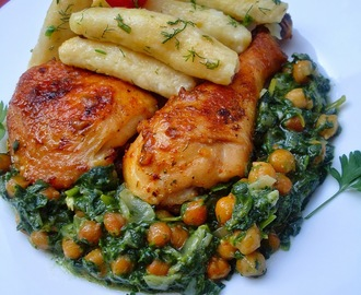 Slasna piletina sa leblebijastim spanaćom i njokama/Delicious chicken with chickpeas, spinach and gnocchi