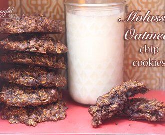 Molasses Oatmeal Chip Cookies {gluten free, no refined sugar & egg free option}