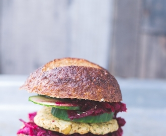 Vegan falafel burger with beetroot coleslaw