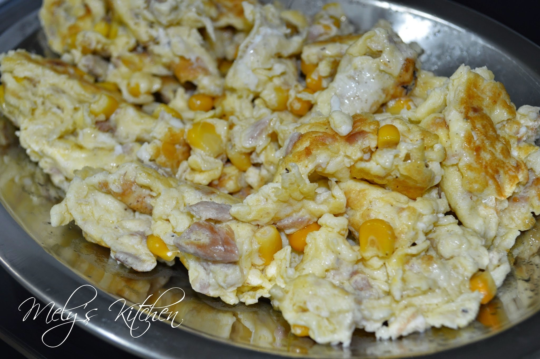 Scrambled Egg with Corn and Tuna Flakes
