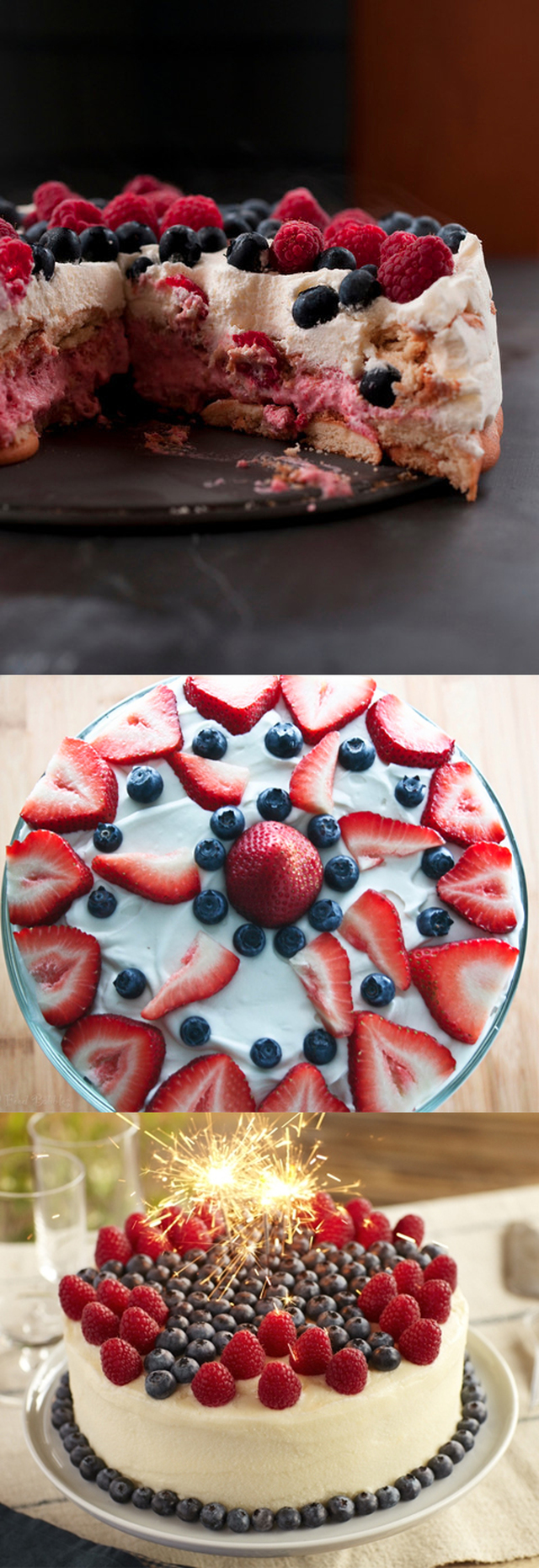July 4th Strawberry Ice box Cake with Wafer Crust for Independence Day