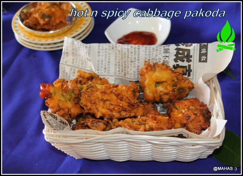 CABBAGE PAKODA WITH HOT MASALA TEA/CABBAGE PAKODI AND MASALA CHAI/SPICY INDIAN DEEP FRIED CABBAGE FRITTERS WITH MASALA TEA/STEP BY STEP PICTURES/HOW TO PREPARE MASALA POWDER FOR TEA
