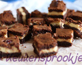 Cheesecake-brownies met frambozen
