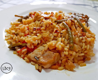 "ARROZ CON SECRETO IBÉRICO Y AJETES (y 2)/ RICE WITH IBERIAN PORK ""SECRETO"" (a pork cut) AND YOUNG GARLICS (and 2)"