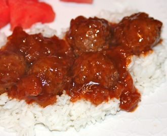 Pineapple Glazed BBQ Meatballs over Rice