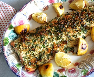 herb-crusted alaskan salmon with roasted lemons