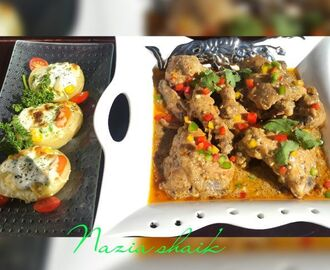 Pepper chicken served with baked patatoes