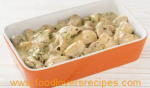 GREEK STYLE CHICKEN IN WHITE GARLIC SAUCE