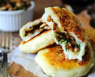 Vegan Potato Cakes stuffed with Mushrooms