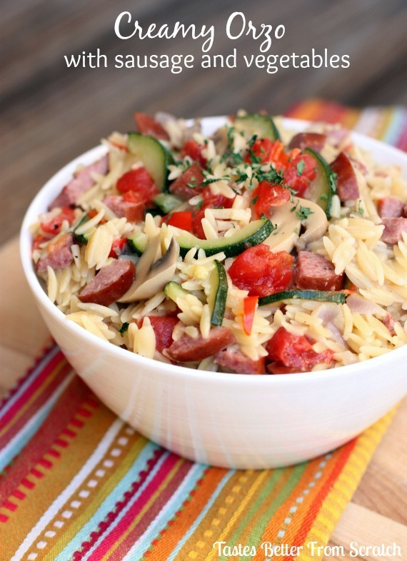 Creamy Orzo with Sausage and Vegetables