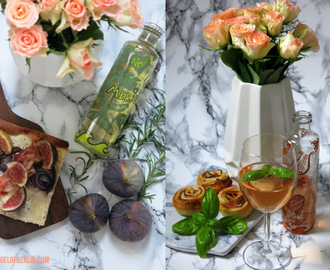 [cooks...] Fig Goat Cheese Tarte Flambée and Apple Roses with Meridia Herbal Wein {Werbung}