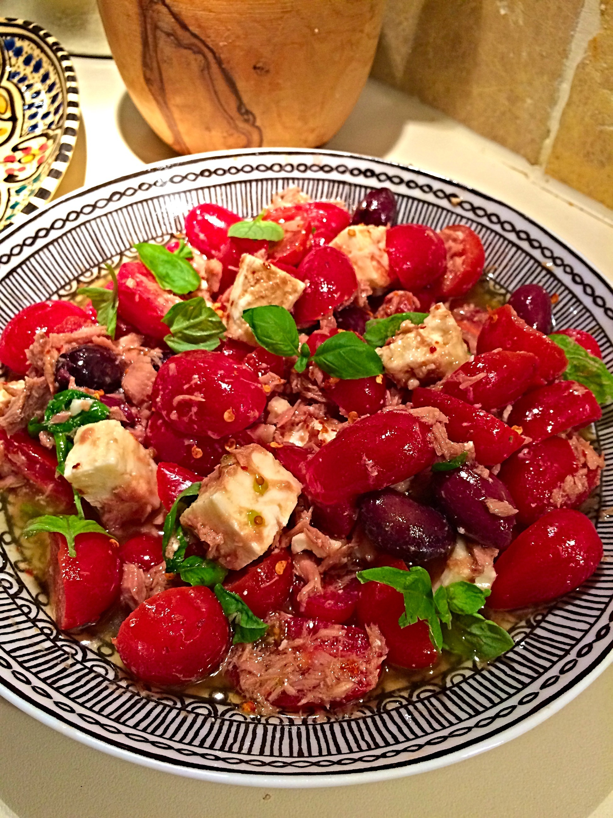 tomato salad with feta cheese and basil
