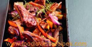 ROAST LAMB CUTLETS WITH PUMPKIN