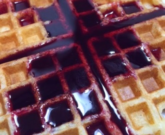 Lemon Ricotta Waffles & Blackberry Syrup