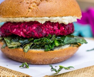Roasted Beet, Brown Rice & Chickpea Burgers with Crispy Kale & a Thyme Tahini Sauce {gf+v}