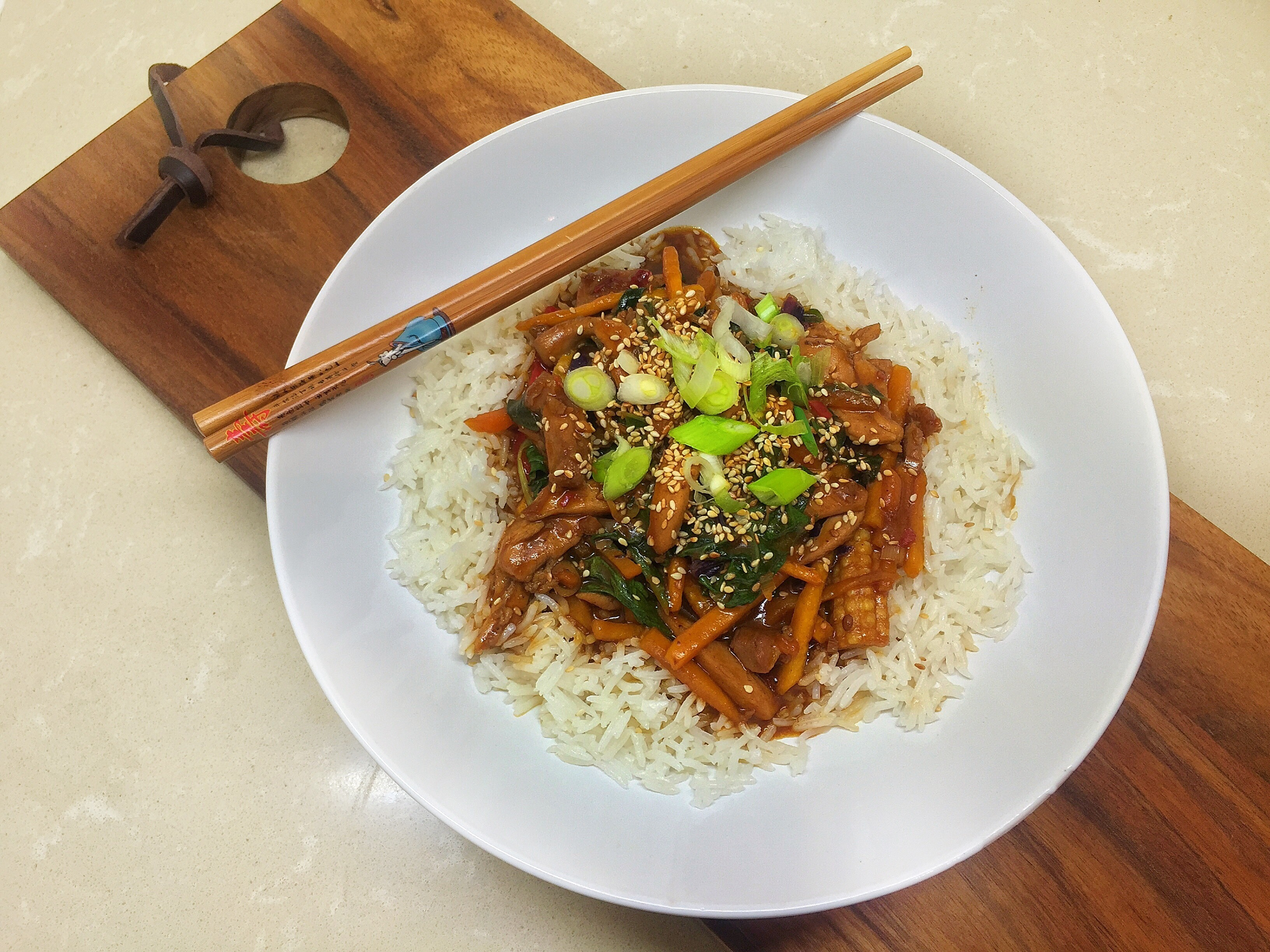 Coconut Rice with Sticky Chicken