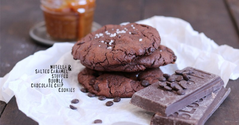 Nutella & Salted Caramel Stuffed Double Chocolate Chip Cookies