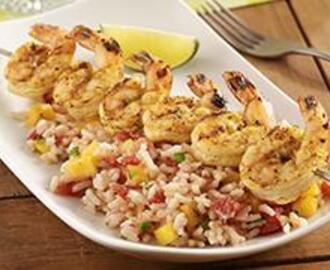 Curry Shrimp Kabobs with Mango Rice