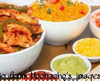 MOCK MOCHACHOS CHICKEN STRIPS and RICE with sides