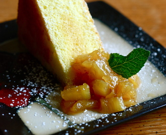 Easy Sponge Cake with Pineapple Rum Compote