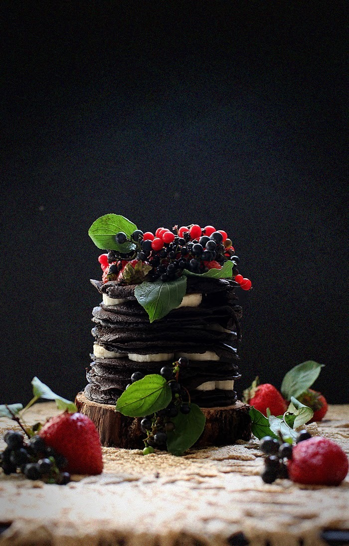 Chocolate Oatmeal Crepe Cake with Wild Grapes, Berries, and Bananas + A Turning of Age