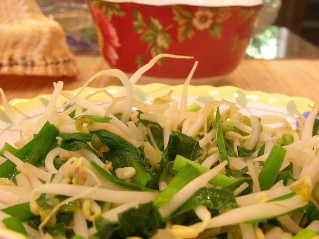 Stir Fried Chinese Leek with Mung Bean Sprout in 15 Minutes (韭菜炒豆芽)