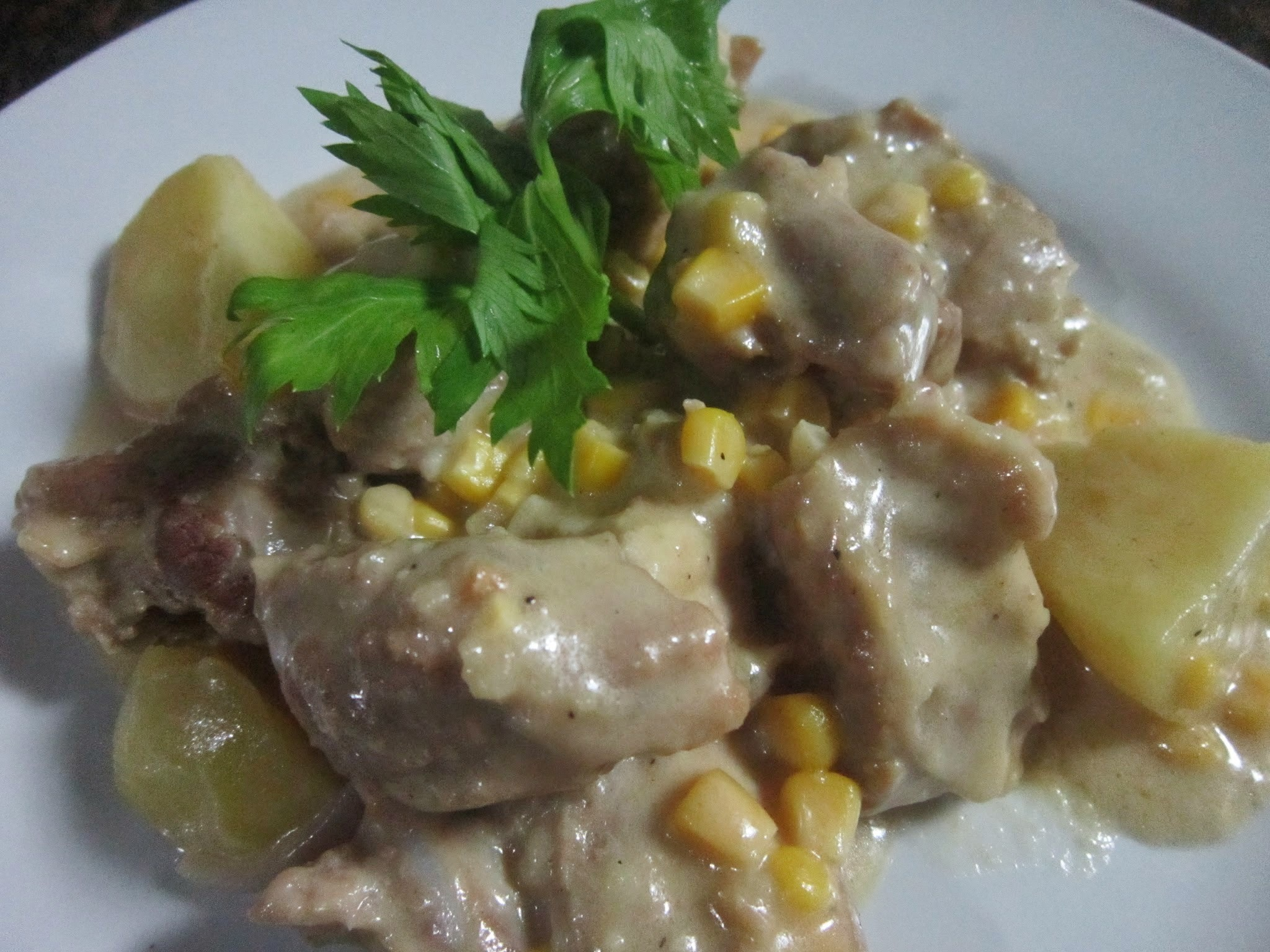 CREAMY PORK and BEEF with CORN