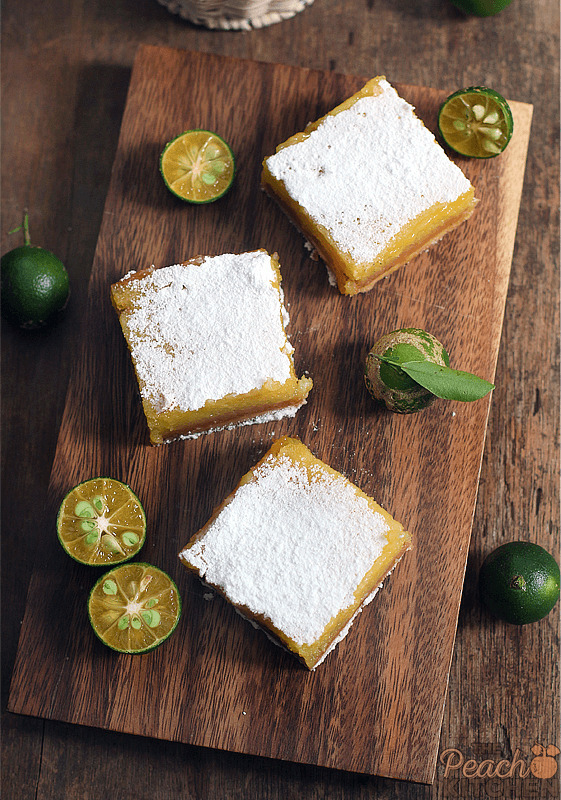 Calamansi Bars on Brown Butter Shortbread