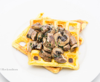Breakfast Waffles with Mushroom Stew