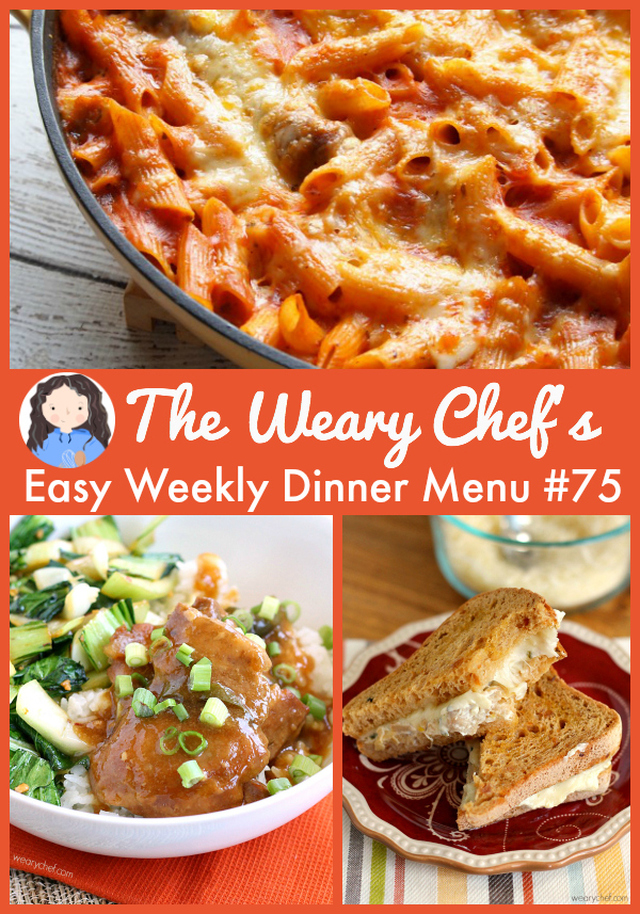 Easy Weekly Dinner Menu #75: Chicken, Shrimp, and Lots of Cheese!