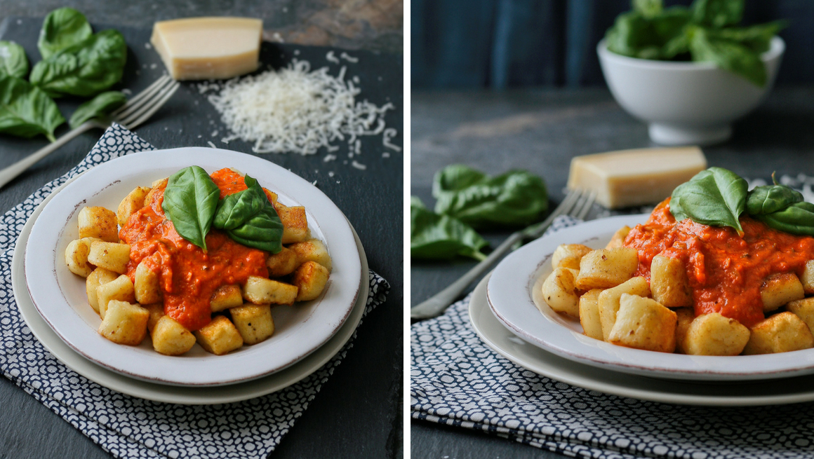 Parmesan gnocchi in a creamy bacon and tomato sauce