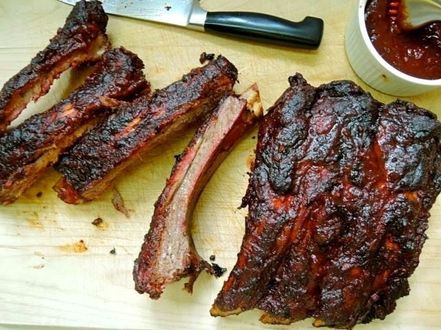 Smoked Beef Back Ribs with Red Wine Barbecue Sauce