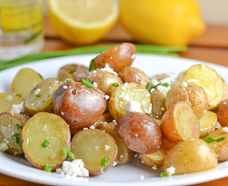 Roasted Potato with Feta Cheese and Lemon Vinaigrette