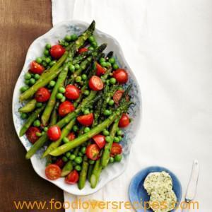 ASPARAGUS, PEAS, AND TOMATOES WITH HERB BUTTER (SALAD)