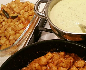 Kari kitchri, chicken, and aloo fry