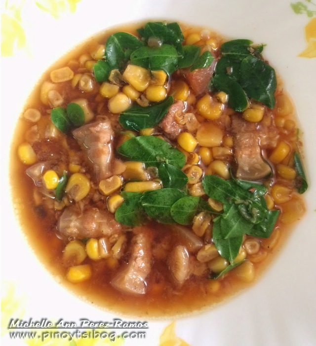 Ginulay na Mais na May Baboy at Malunggay (Corn Soup with Pork and Moringa Leaves)