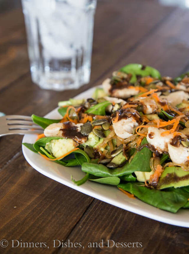 Spinach Chicken Salad w/ Garlic Balsamic Vinaigrette