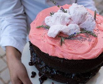 Chocolate Cake with Pink Cream Cheese Icing