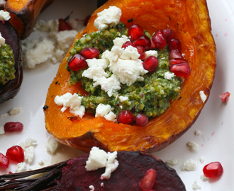 Roasted Butternut Squash and Beetroot with Pistachio Pesto, Feta and Pomegranate Seeds from Persiana