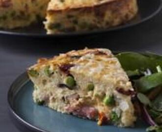 SAVOURY RICE TART WITH BACON AND MUSHROOMS